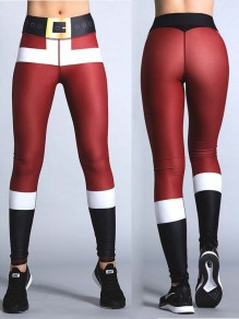 Weinrot Schwarz Splicing Yoga Weihnachtsmotiven Christmas Santa Skinny Sport Leggings Damen Cosplay