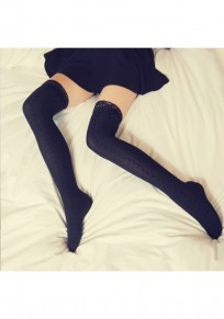 Black Plain Lace Bow Zipper Fashion Long Leggings