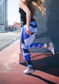 Blau Geometrie Print Elastische Taille Hohe Taille Schlank Stretch Yoga Sock Sport Leggings Damen Mode