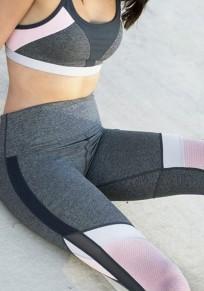 Graue Farbblock Mesh Transparent Hohe Taille Lange Schlank Fitness Sports Leggings Damen Yoga Jogginghose Günstig