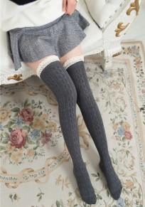 Mi-longue bas en laine crochet tricoté avec dentelle doux mignon femme gris foncé