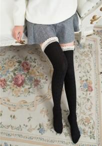 Bas en laine crochet tricoté avec dentelle doux mignon femme genou haute chaussettes noir