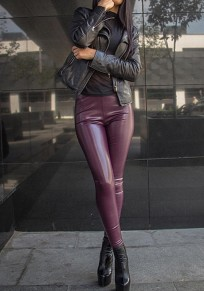Lila PU Leder Latex Lange High Waisted Elastische Taille Hosen Leggings Damen Mode