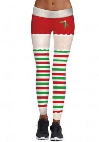 Weiß Rot Gestreifte Drucken Christmas Elastische Weihnachten Yoga Leggings Damen