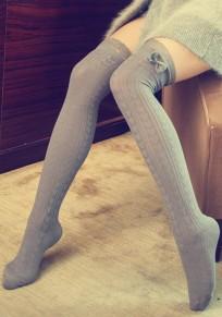 Hellgraue Liebe Spitze Bogen Elastische Taille Süße Overknee Leggings