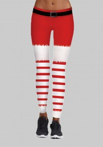 Red Striped Print Santa Workout Yoga High Waisted Sports Long Legging