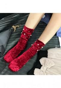 Weinrot Flickwerk Perlen Mode Velvet Socken Günstige Samt Leggings Kurz Damen