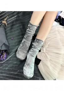 Grau Flickwerk Perlen Mode Velvet Socken Günstige Samt Leggings Kurz Damen