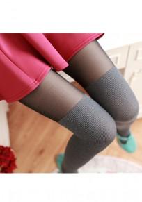Hellgraue Flickwerk Drapierte Elastische Taille Lange Leggings