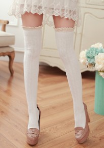 White Patchwork Lace Elastic Waist Cute Overknee Leggings