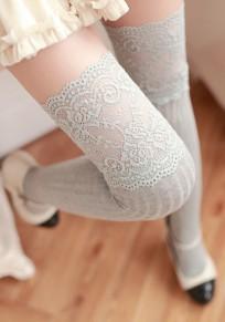 Bas en laine crochet tricoté avec dentelle doux mignon femme genou haute chaussettes gris clair
