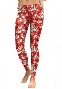 Leggings noël imprimé bonhomme de neige slim mignon rouge femme
