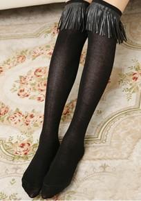 Schwarze Quaste elastische Taille niedliche Baumwolle Overknee Leggings