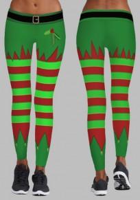 Grün Rot Gestreift Santa Workout Weihnachten Christmas Yoga Skinny Legging Damen