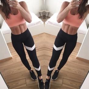 Schwarz Flickwerk Print Patchwork Stretch Yoga Fitness High Waist Sports Leggings Damen