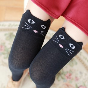 Black Cats Cartoon Print Elastic Waist Cute Overknee Leggings