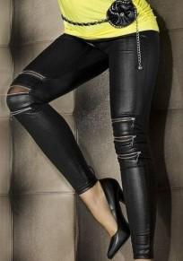 Schwarzer Reißverschluss elastische Taille Mode PU Leder Neun Leggings