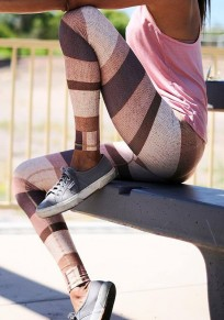Multicolor Color Block High Waisted Sports Long Legging