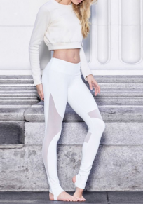 White Grenadine Patchwork Elastic Waist Yoga Sports Leggings
