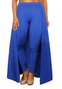 De talle alto delgada fiesta de navidad casuales legging con overlay azul