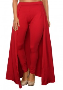 Red High Waisted Slim Christmas Party Casual Legging With Overlay