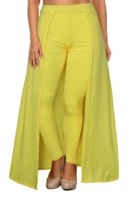 Yellow High Waisted Slim Christmas Party Casual Legging With Overlay