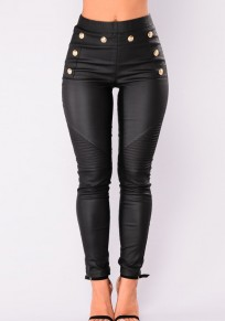 Schwarze Knöpfe elastische Taille Mode lange Leggings