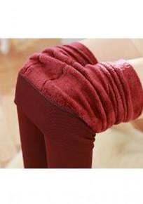 WeinRot Einfarbig Elastische Taille Mode Dicke Lange Leggings