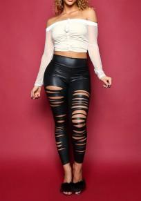 Schwarzes PU-Leder gerippte hoch taillierte elastische Taille Latex Legging