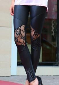 Schwarz PU-Leder mit Spitze Elastische Hohe Taille Mode Skinny Lange Leggings Damen