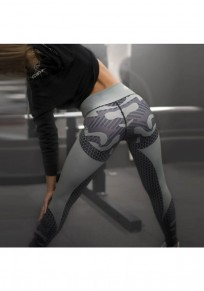 Armee Grün Flickwerk Hohe Taillierte Stretch Yoga Sock Beiläufige Push Up Leggings Damen