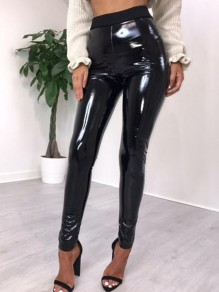 Schwarz PU-Leder Latex Hohe Taille Bodycon Lange Legging Damen Mode