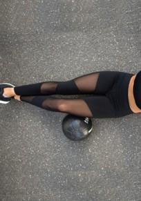Legging avec grenadine mesh transparent irrégulière fitness yoga femme noir