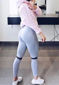 Graue Flickwerk Schwarz Hohe Taille Stretch Yoga Schlank Sport Legging