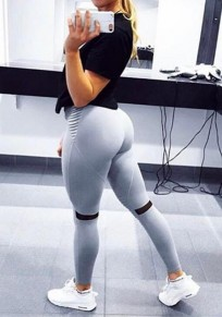 Grau Splicing Mesh Gefaltete Hohe Taille Schlank Skinny Yoga Push Up Sport Leggings Damen