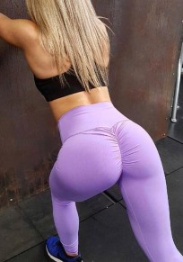 Purple Hip Panty Botty Pleated Yoga Sport Fashion Sock Legging