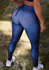 Dunkelblau Farbverlauf Hohe Taille Push Up Schlank Mode Lange Leggings Damen Yoga Jogginghose Günstig