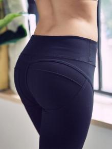 Schwarz Splicing Schlank High Waisted Fitness Yoga Push Up Sports Leggings Damen Mode