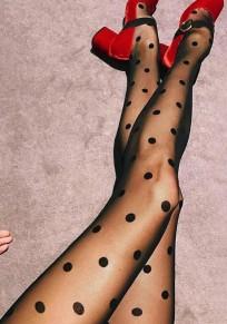 Schwarz Tupfen Print Mode Strümpfe Strumpfhose Leggings Damen