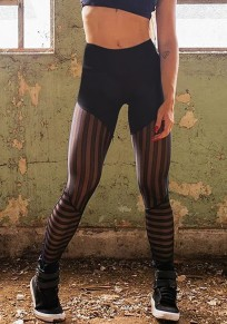 Schwarz Mesh Schlank Hohe Taille Fitness Stretch Yoga Push Up Po Sports Leggings Damen Mode