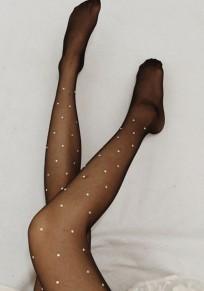 Legging moda de diamantes de imitación elástico cintura alta larga negra