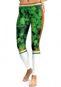 Green Shamrock Striped St. Patrick's Day High Waisted Stretch Yoga Sock Casual Sports Legging