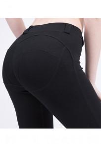Schwarz Elastische Taille Skinny Push Up Po Beiläufige Leggings Hosen Lang Damen Mode