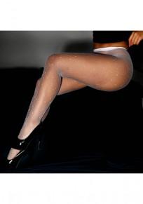 Weiß Flickwerk Strass elastische Taille Net Socken lange Leggings