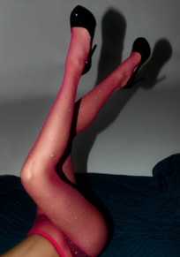 Leotardos diamantes de imitación de carmín rosa calcetines elásticos red de largo