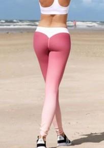Rotes Weiße Farbverlauf High Waisted Fitness Stretch Yoga Push Up Leggings Damen Mode