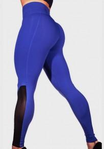 Blaue Mesh Transparent Schlank Fitness Push Up Hohe Taille Yoga Lange Leggings Damen Hosen
