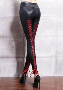 Rot Kordelzug elastische Taille PU Leder lange Leggings