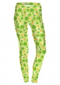 Green Floral Saint Patrick's Day Four Leaf Clover Fashion Yoga Legging