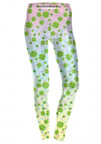 Green Four Leaf Clover Pattern St. Patrick's Day Yoga Sport Legging